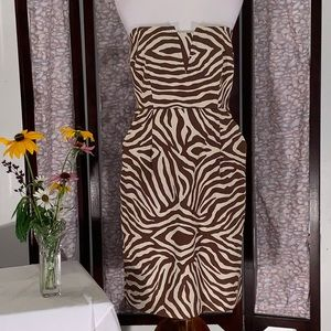 Kate Spade brown & white abstract strapless dress